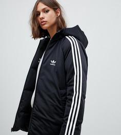Двустороннее пуховое пальто черного цвета с тремя полосами adidas Originals - Черный