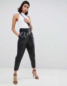 Кожаные брюки премиум-качества с поясом ASOS DESIGN - Черный
