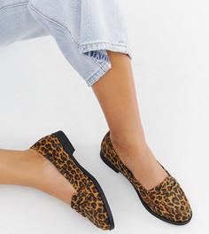 Туфли на плоской подошве для широкой стопы с леопардовым принтом ASOS DESIGN Minny - Мульти