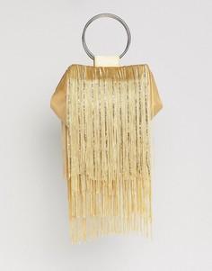 Клатч с ручкой и бахромой ASOS DESIGN - Золотой
