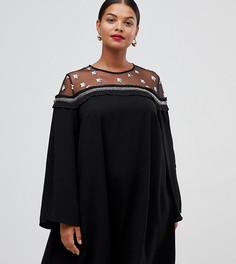 Платье с сетчатыми вставками Lovedrobe - Черный