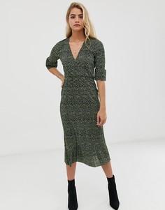 Чайное платье миди с плиссировкой, открытой спиной и принтом в горошек ASOS DESIGN - Мульти