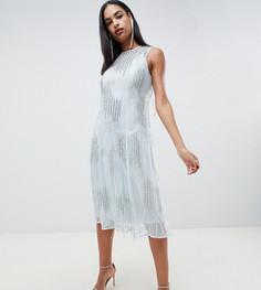 Платье миди с бахромой ASOS DESIGN - Синий