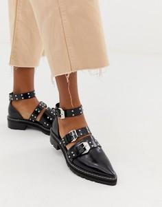 Кожаные туфли на плоской подошве с заостренным носком и заклепками ASOS DESIGN Mile End Premium - Черный
