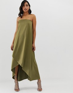 Атласное платье макси бандо ASOS DESIGN - Зеленый