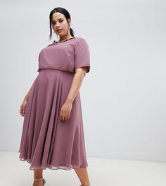 Платье миди с 3D-отделкой у ворота ASOS DESIGN Curve - Фиолетовый