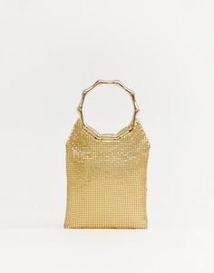 Золотистая сумка с круглыми ручками и отделкой в виде кольчуги Missguided - Золотой