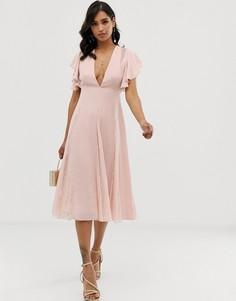 Платье миди с кружевными вставками ASOS DESIGN - Розовый
