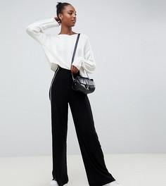 Широкие брюки с контрастным кантом ASOS DESIGN Tall - Черный