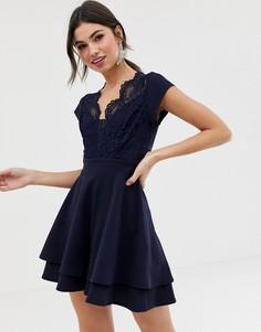 Короткое приталенное платье с кружевным топом TFNC - Темно-синий