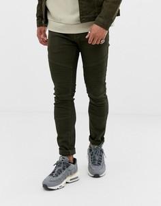 490ccace3fe Зауженные байкерские джинсы цвета хаки Liquor N Poker - Зеленый