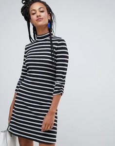 Черно-белое платье в полоску с высоким воротником Esprit - Мульти