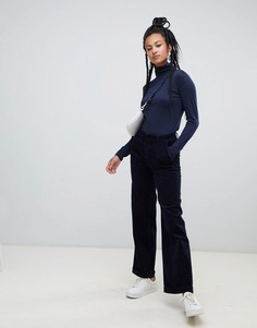 Темно-синие широкие вельветовые брюки Esprit - Темно-синий
