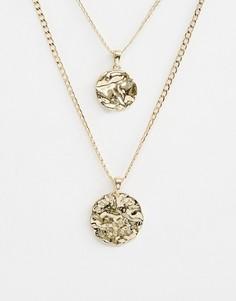Ярусное ожерелье с подвесками в винтажном стиле ASOS DESIGN - Золотой