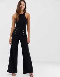 Черные брюки с широкими штанинами и пуговицами Boohoo - Мульти