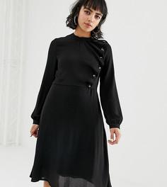 Короткое приталенное платье с пуговицами Vero Moda Petite - Черный