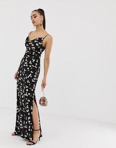 Черное платье-комбинация макси со свободным воротом и цветочным принтом Missguided - Мульти