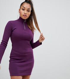 Фиолетовое облегающее платье с длинными рукавами и молнией Missguided Petite - Фиолетовый