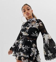 Черное шифоновое платье мини с высоким воротом, кружевом и цветочным принтом Missguided Petite - Мульти
