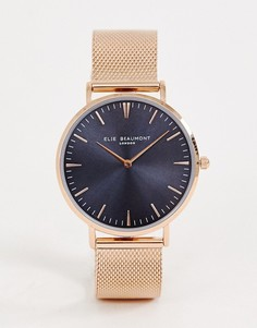 Часы с золотисто-розовым корпусом и синим циферблатом Elie Beaumont - Серебряный