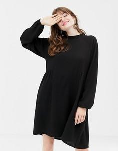 Черное свободное платье с высоким воротником Monki - Черный