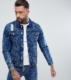 Джинсовая куртка с эффектом кислотной стирки и потертостями Brooklyn Supply Co - Синий