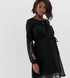 Платье с вышивкой Mamalicious - Черный Mama.Licious