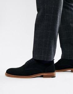 Темно-синие замшевые туфли на шнуровке с натуральной подошвой ASOS DESIGN - Темно-синий