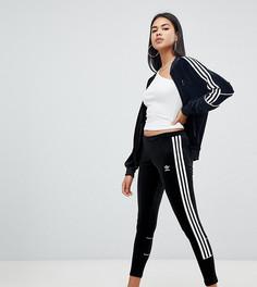 Черные бархатные леггинсы с тремя полосками adidas Originals - Черный