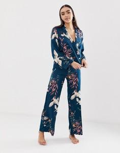 Пижамный комплект с двубортной рубашкой и брюками ASOS DESIGN - Синий
