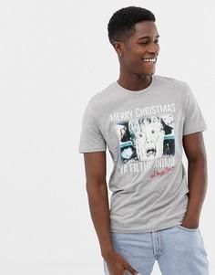 Новогодняя футболка с принтом Jack & Jones Originals Home Alone - Серый
