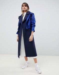 Деловое пальто с гибридным верхним слоем ASOS DESIGN - Синий