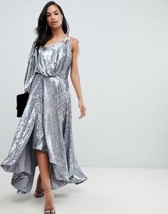 Платье миди на одно плечо с голографическими пайетками ASOS EDITION - Серебряный