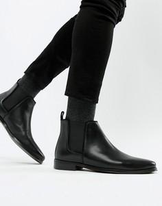 Черные кожаные ботинки челси с натуральной подошвой ASOS DESIGN - Черный