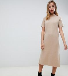 Платье-футболка миди с вырезом на спине ASOS DESIGN Petite - Бежевый