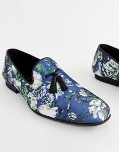 Темно-синие лоферы с цветочным принтом и кисточками ASOS DESIGN - Темно-синий