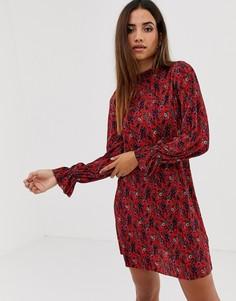 Свободное плиссированное платье мини с высоким воротом и цветочным принтом ASOS DESIGN - Мульти