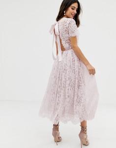 Кружевное платье миди с ленточной завязкой и открытой спиной ASOS DESIGN - Розовый