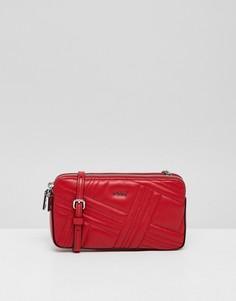 Красная стеганая кожаная сумка на молнии DKNY allen - Красный