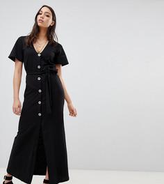 Чайное платье макси на пуговицах ASOS DESIGN Tall - Черный