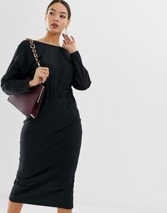 Платье-футляр миди с запахом ASOS DESIGN - Черный