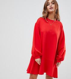 Oversize платье-свитшот с оборками ASOS DESIGN Petite - Красный