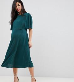 Плиссированное платье миди с кроп-топом ASOS DESIGN Maternity Nursing - Зеленый