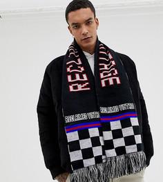 Oversize-шарф в клетку с логотипом и кисточками Reclaimed Vintage inspired - Черный