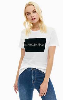 Белая футболка из хлопка с фактурным принтом Calvin Klein Jeans