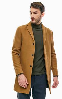 Коричневое шерстяное пальто на пуговицах Selected
