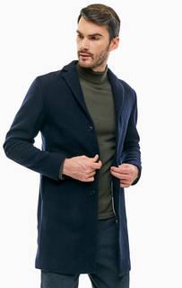 Синее шерстяное пальто на пуговицах Selected