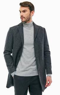 Серое шерстяное пальто на пуговицах Selected