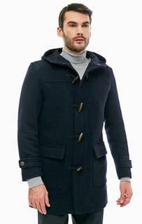 Утепленное синее пальто с капюшоном Selected