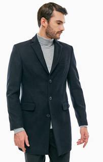 Полушерстяное синее пальто на пуговицах Mexx